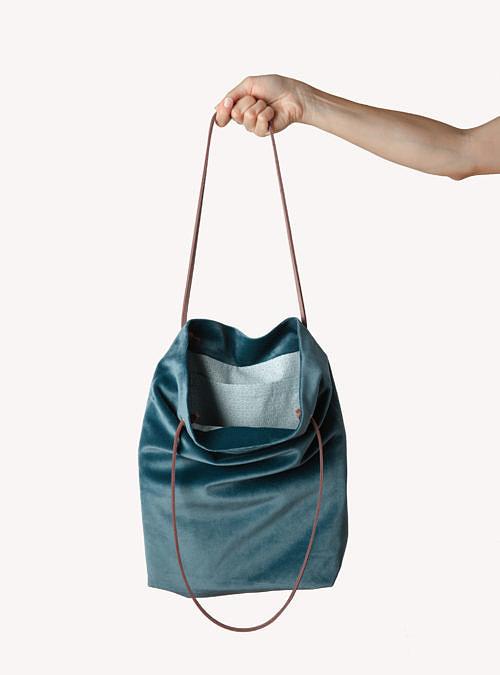 artisanne sac bleu petrole ouvert