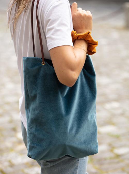 artisanne sac bleu petrole porte