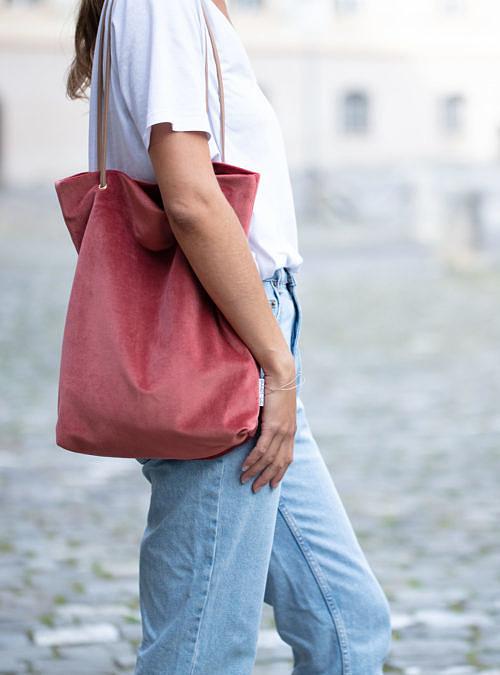 artisanne sac rose framboise porte